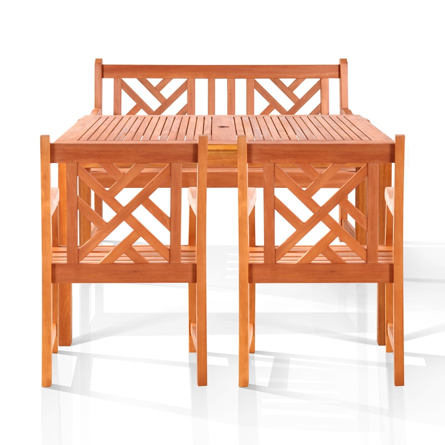 VIFAH Tesera 4-Piece Eucalyptus Patio Dining Set