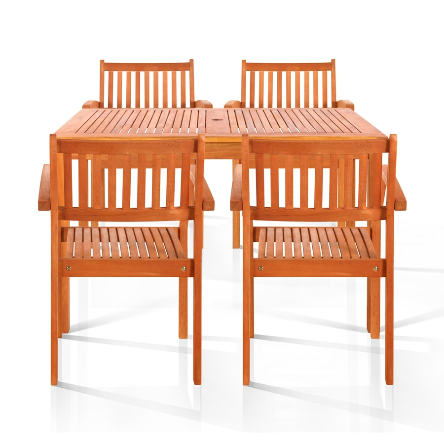 VIFAH Brainerd 5-Piece Eucalyptus Patio Dining Set