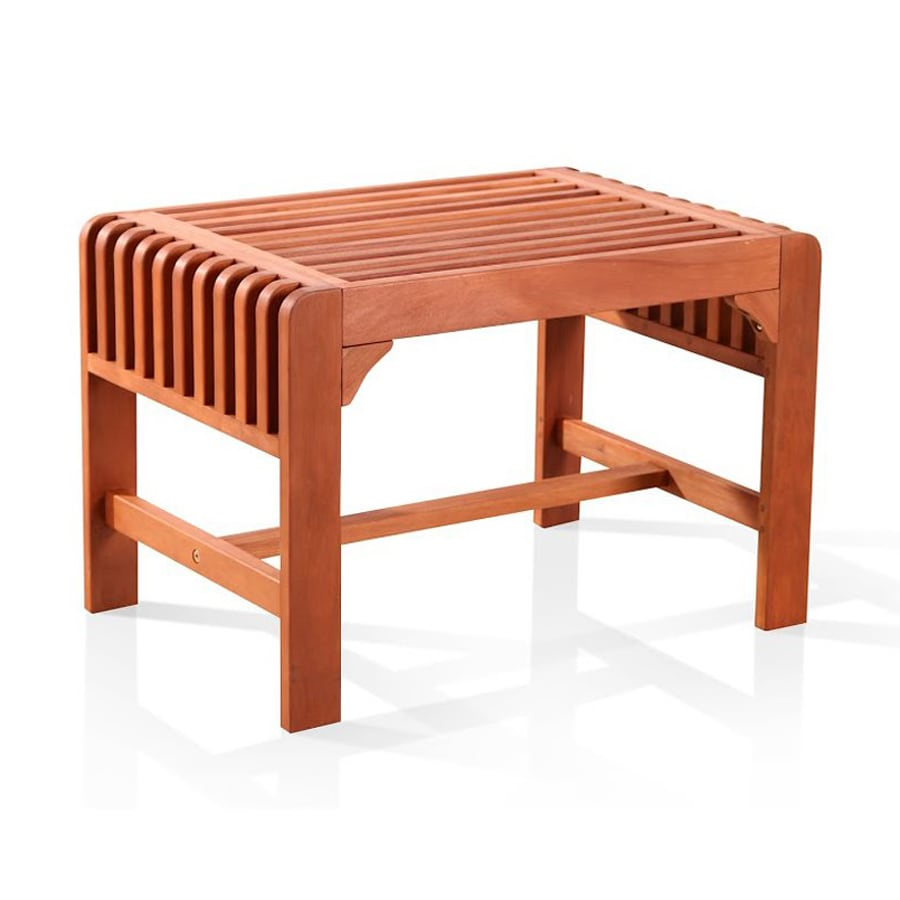 Shop Vifah 18 In W X 26 4 In L Eucalyptus Patio Bench At