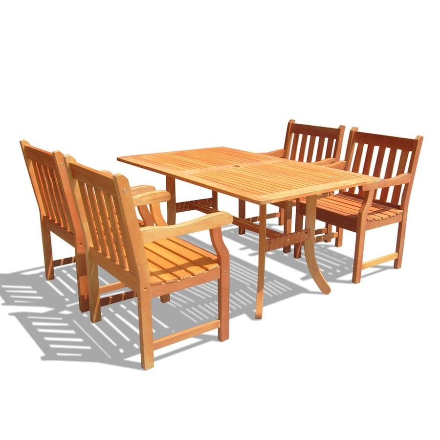 VIFAH Atlantic 5-Piece Natural Eucalyptus Patio Dining Set