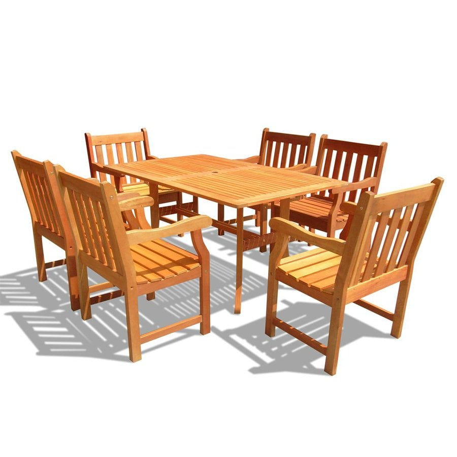 VIFAH Atlantic 7-Piece Natural Eucalyptus Patio Dining Set