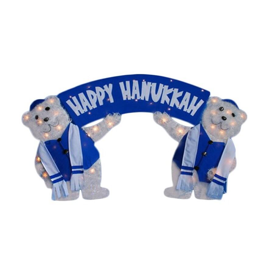 christmas central metal lighted polar bears holding happy hanukkah sign yard art freestanding hanukkah decoration - Hanukkah Decorations