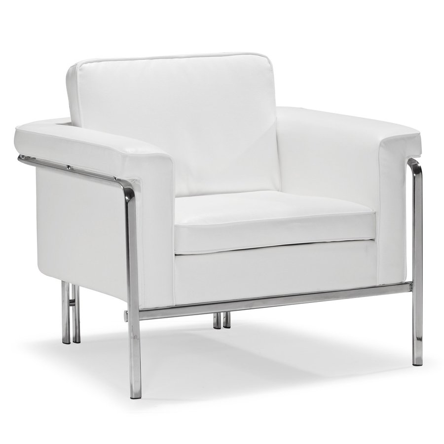 Shop Zuo Modern Singular Modern White Faux Leather Club