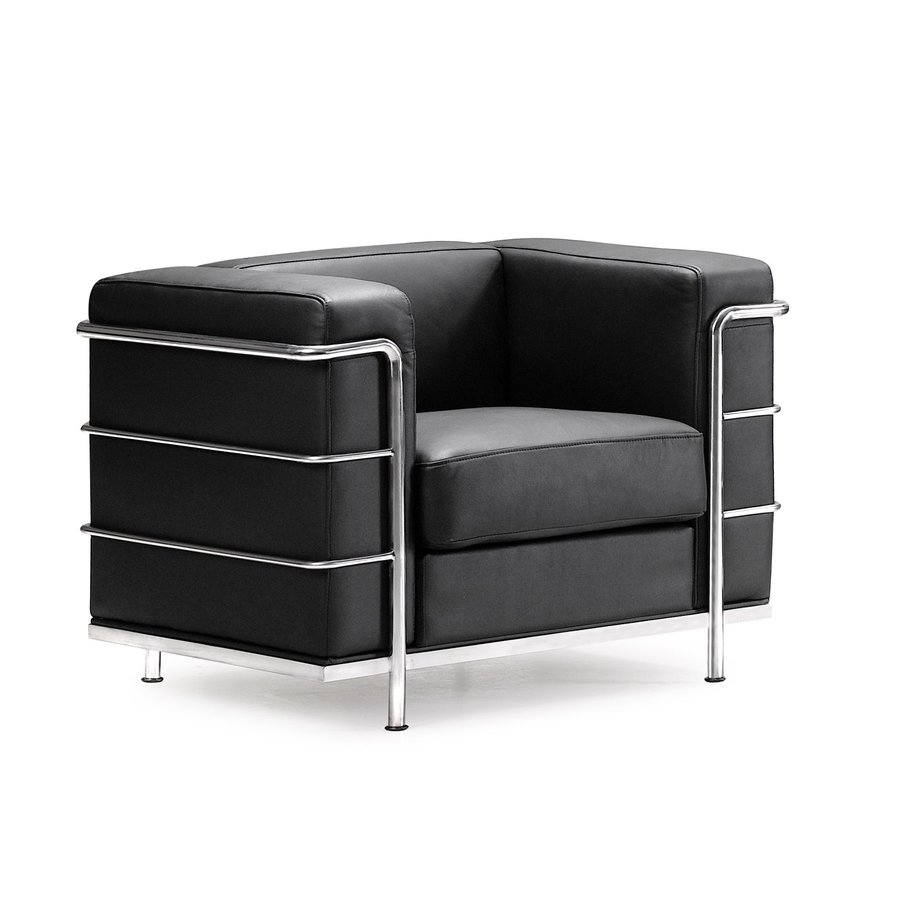 Nice Zuo Modern Fortress Modern Black Faux Leather Club Chair