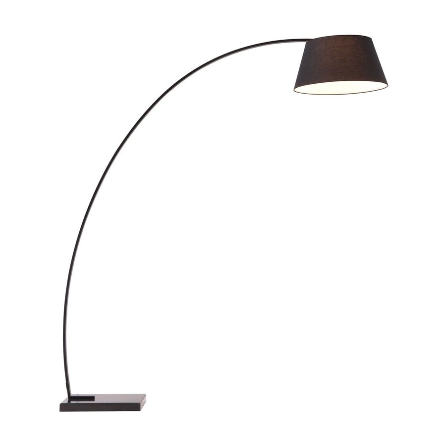 Zuo Modern Vortex 74.8-in Black Foot Switch Downbridge Floor Lamp with Fabric Shade