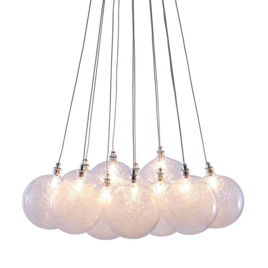 Zuo Modern Cosmos 17.7-in Chrome Multi-Light Textured Glass Globe Pendant