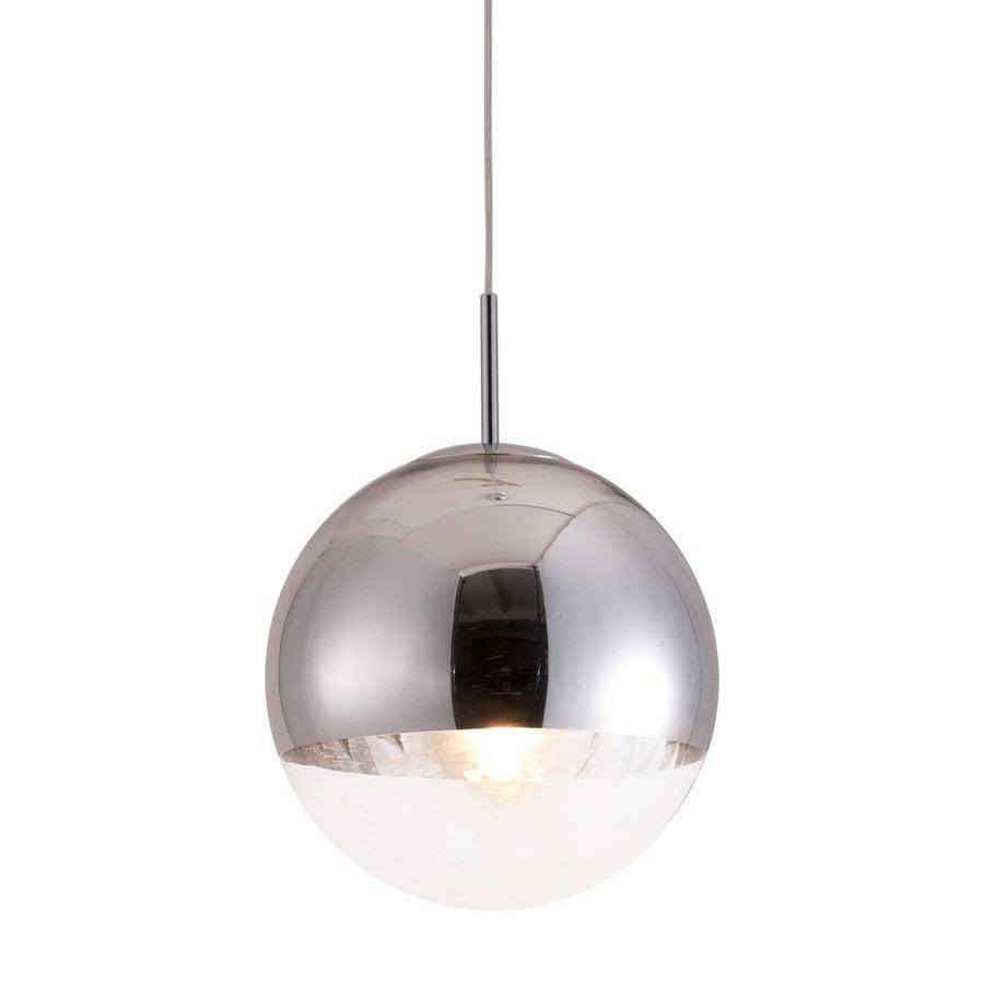 Zuo Modern Kinetic 11.8-in Chrome Single Mirrored Glass Globe Pendant