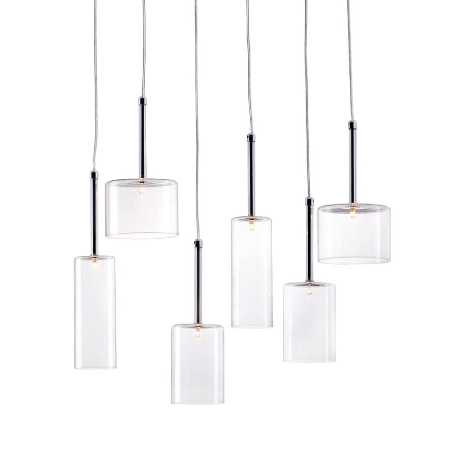 Zuo Modern Hale Multi-Light Clear Glass Cylinder Pendant