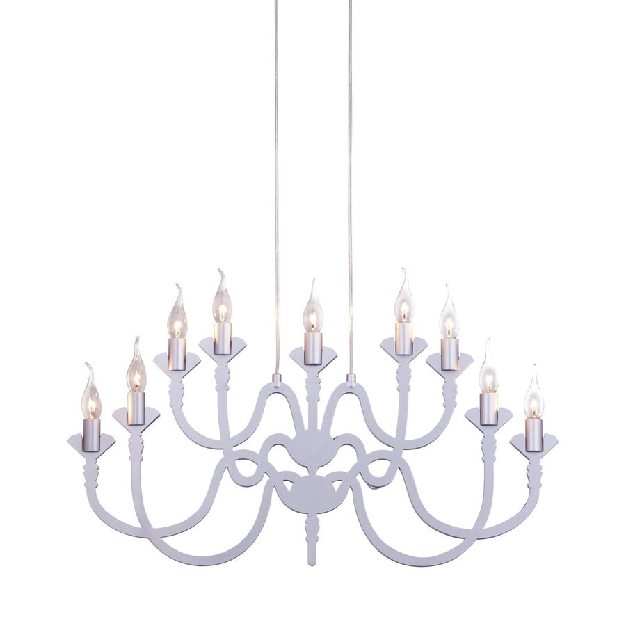 Zuo Modern Supercell 32.7-in 9-Light Silver Candle Chandelier