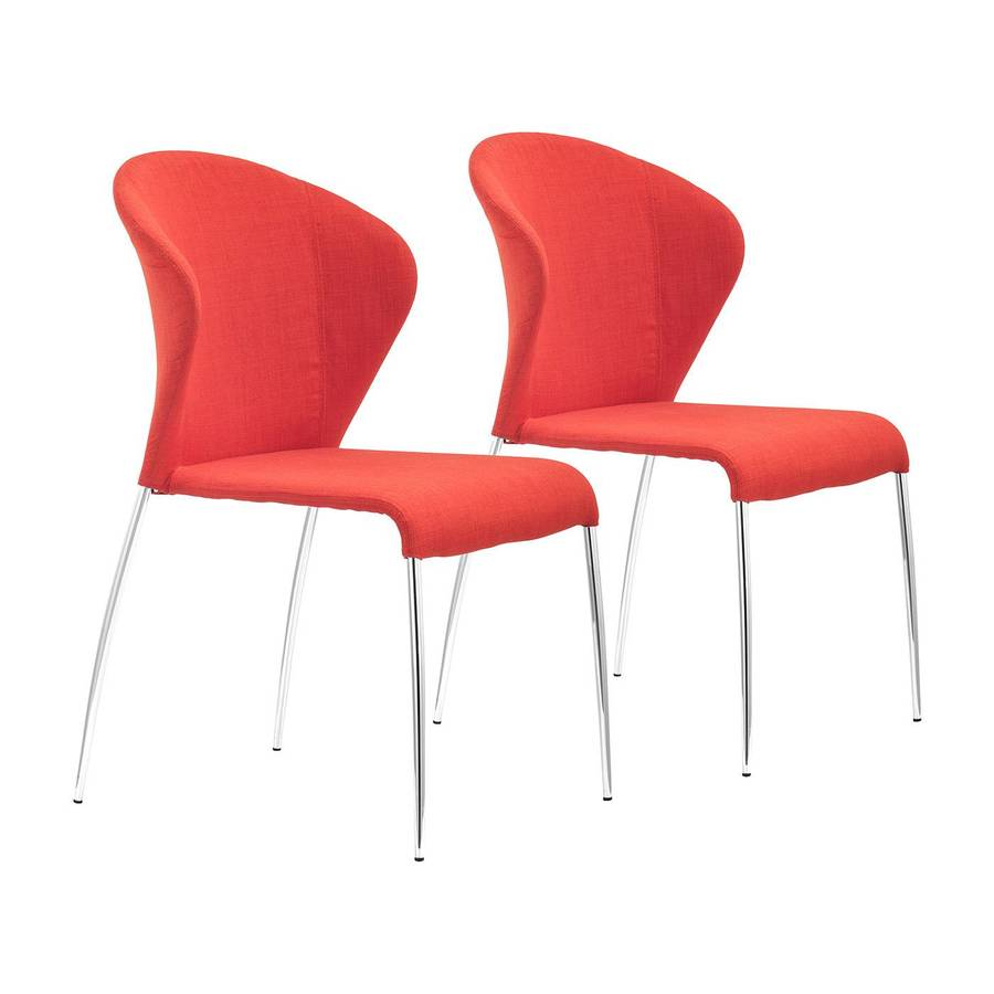 Zuo Modern Set of 4 Oulu Tangerine/Chrome Side Chairs
