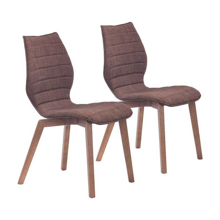 Zuo Modern Set of 2 Aalborg Tobacco Side Chairs