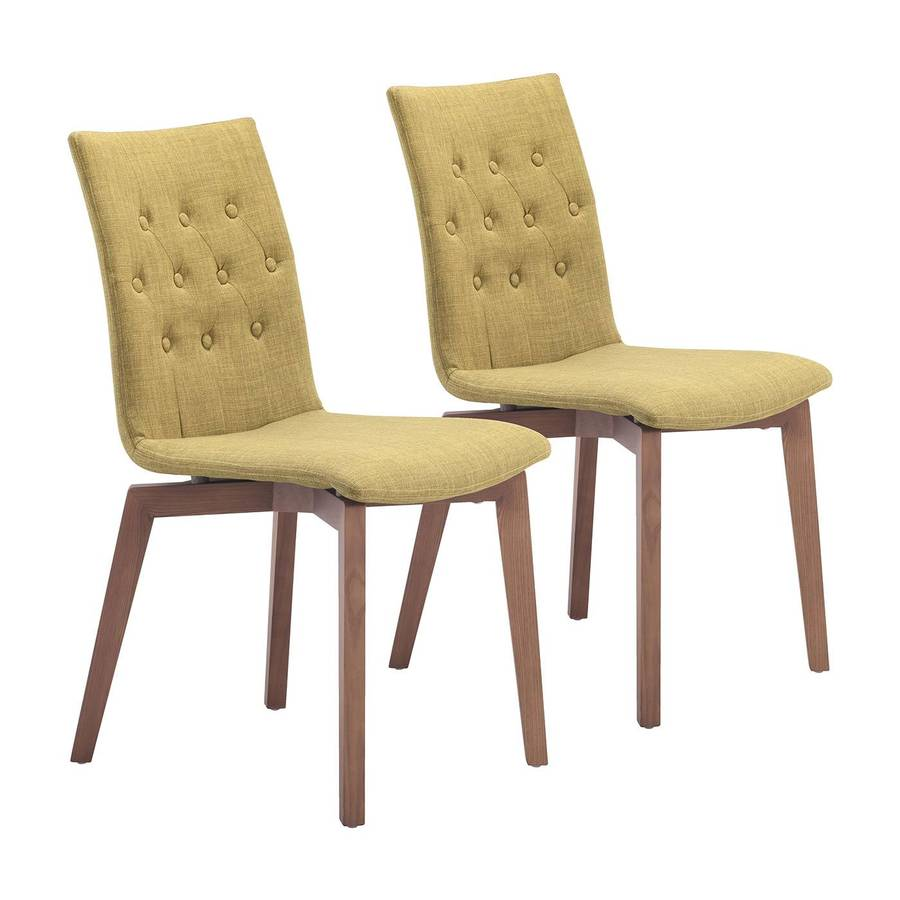 Zuo Modern Set of 2 Orebro Walnut Side Chairs