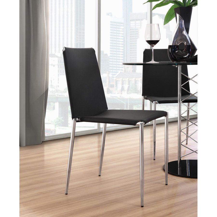 Zuo Modern Set of 4 Alex Black/Chrome Stackable Side Chairs