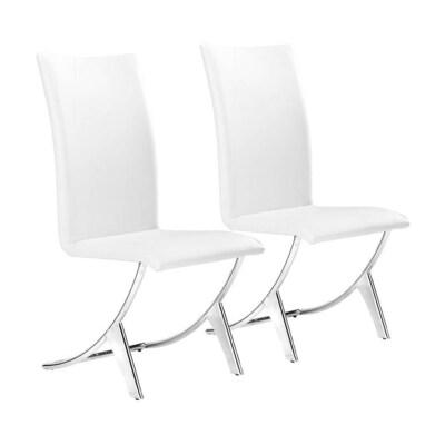 Wondrous Set Of 2 Delfin Contemporary White Side Chair Machost Co Dining Chair Design Ideas Machostcouk