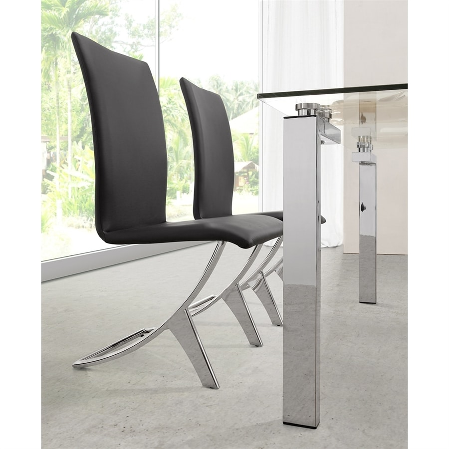 Zuo Modern Set of 2 Delfin Chrome Side Chairs
