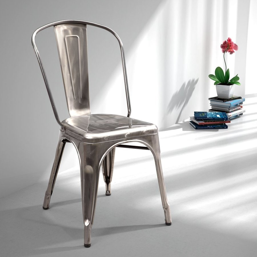 Zuo Modern Set of 2 Elio Gunmetal Stackable Side Chairs