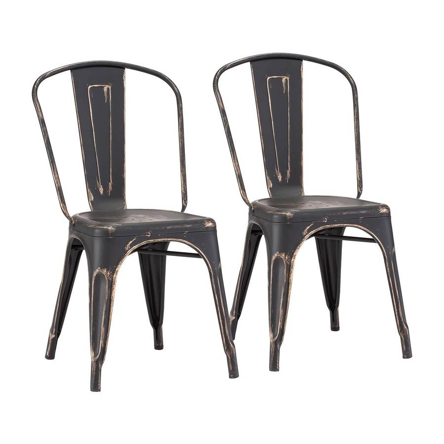 Zuo Modern Set of 2 Elio Antique Black Gold Side Chairs