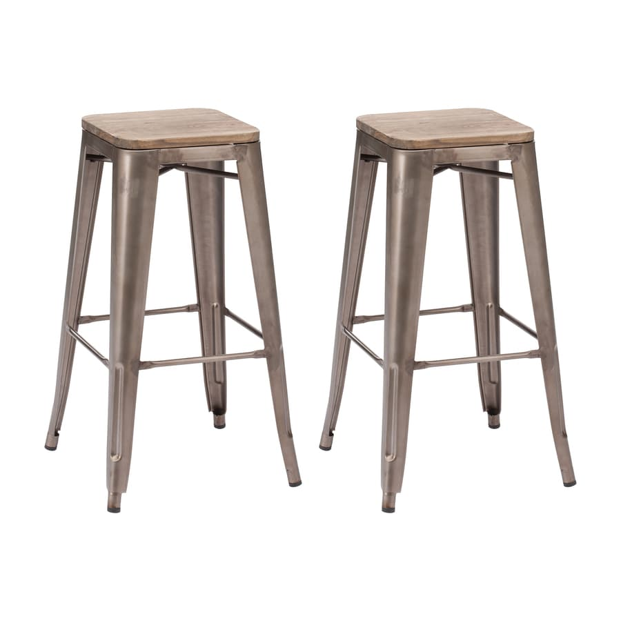 Zuo Modern Set of 2 Marius Rustic Wood 29.5-in Bar Stool