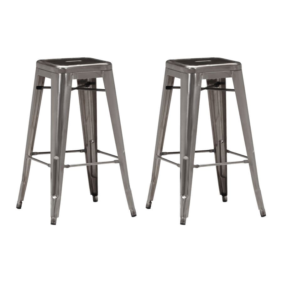 Zuo Modern Marius Set of 2 Industrial Gunmetal Bar stool