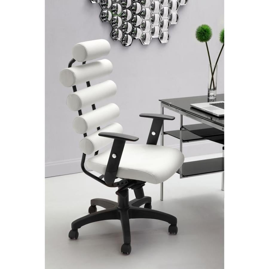 Zuo Modern Unico White Faux Leather Manager Office Chair