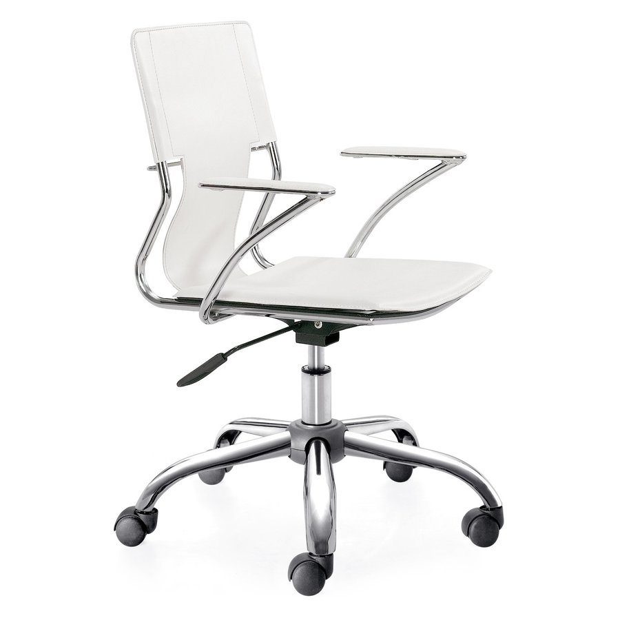 Zuo Modern Trafico White/Chrome Contemporary Task Chair