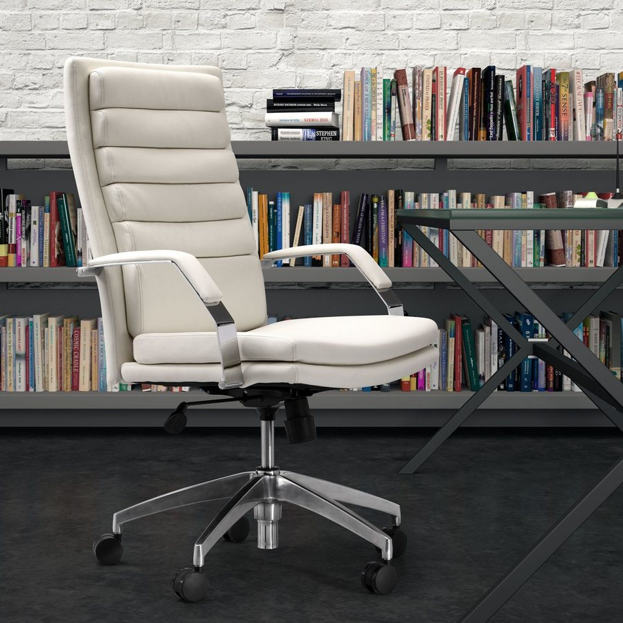 Zuo Modern Director Comfort White Faux Leather Task Office Chair