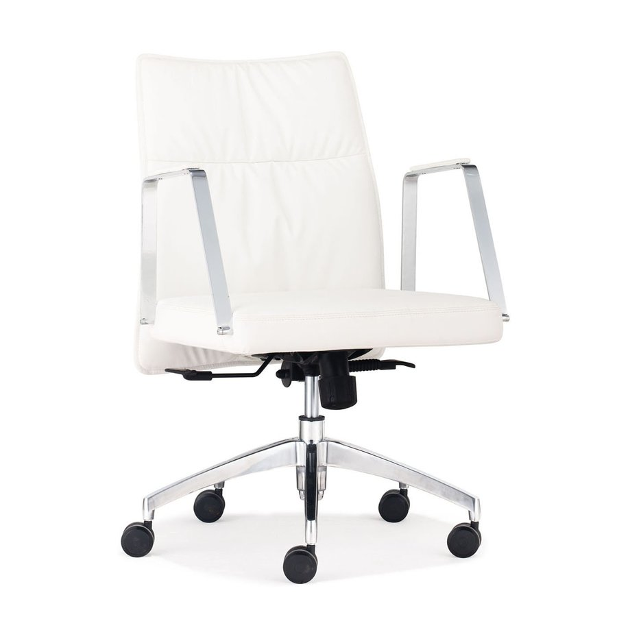 Zuo Modern Dean White/Chrome Faux Leather Manager Office Chair