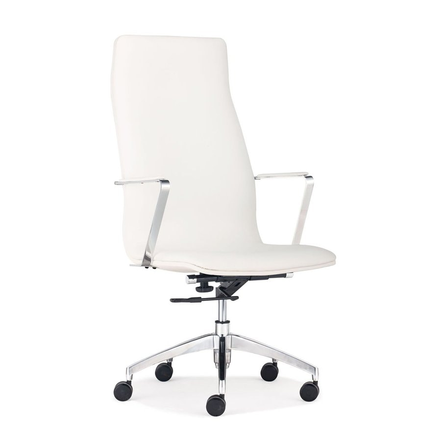 Zuo Modern Herald White Faux Leather Manager Office Chair