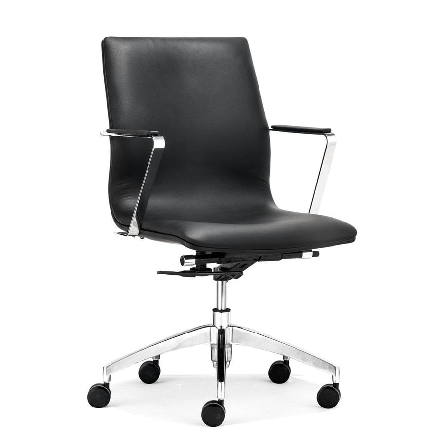 Zuo Modern Herald Black Faux Leather Manager Office Chair
