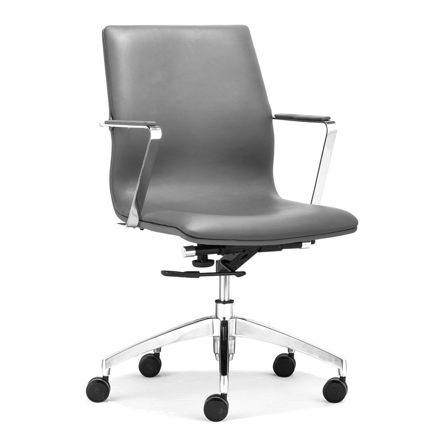 shop zuo modern herald gray faux leather manager office chair at lowes