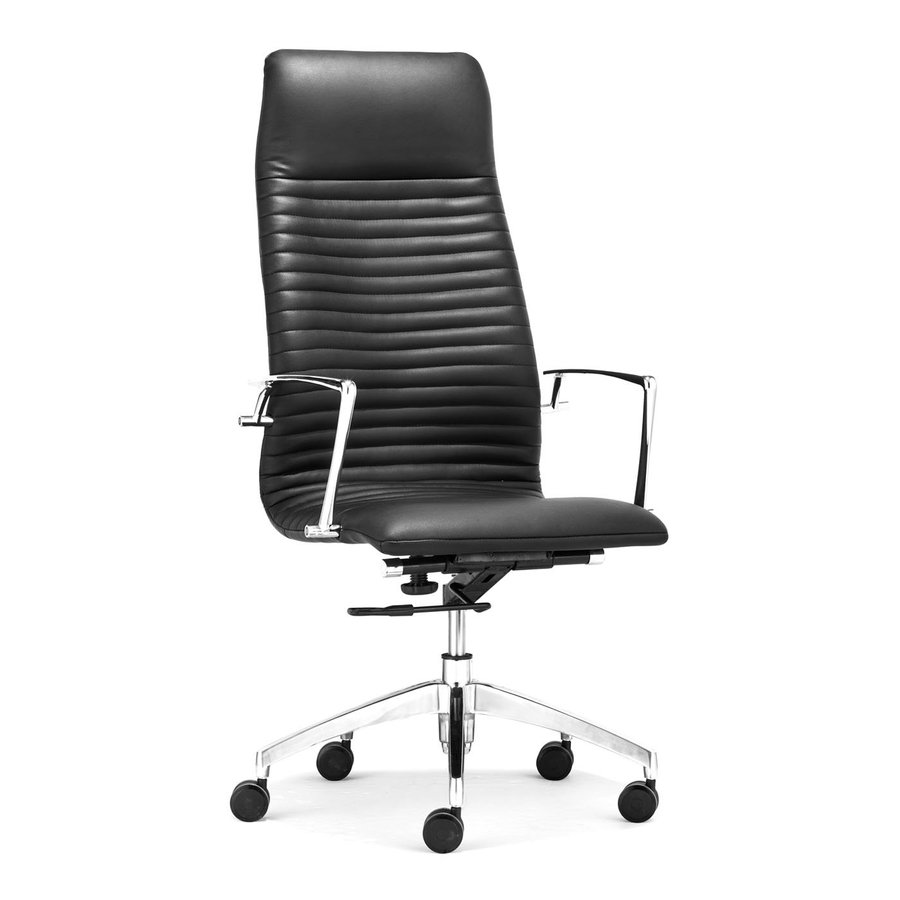 Zuo Modern Lion Black Faux Leather Manager Office Chair