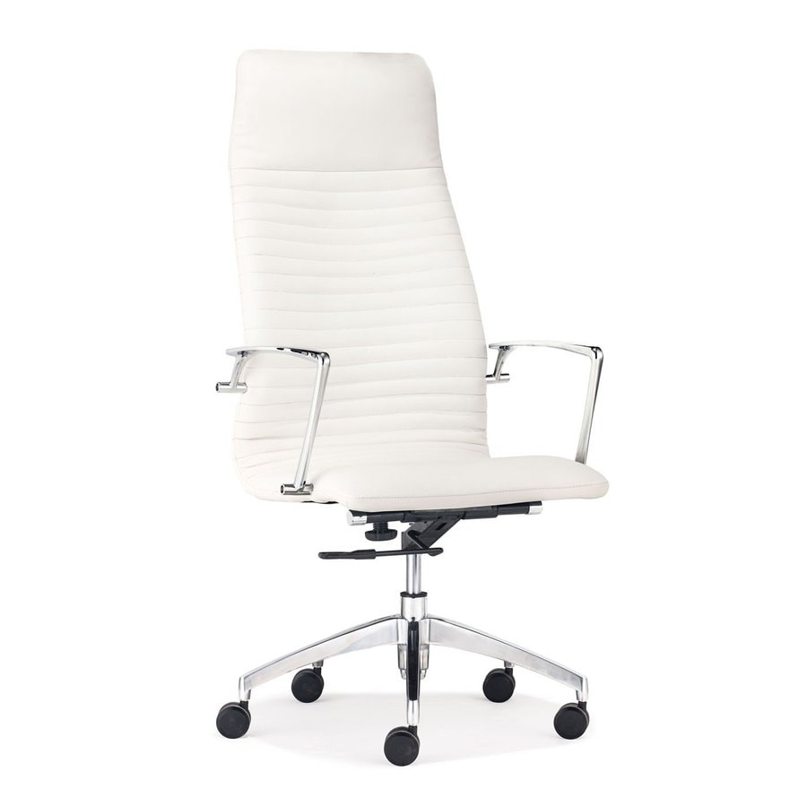 Zuo Modern Lion White Faux Leather Manager Office Chair