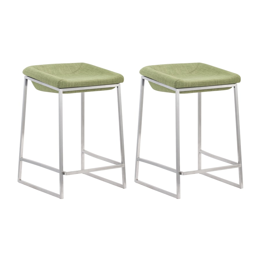 Zuo Modern Lids Set of 2 Casual Pea Counter Stools