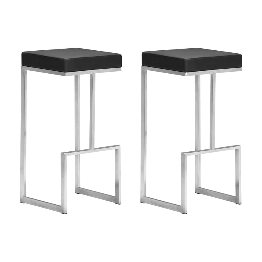 Zuo Modern Darwen Set of 2 Modern Black Bar Stools