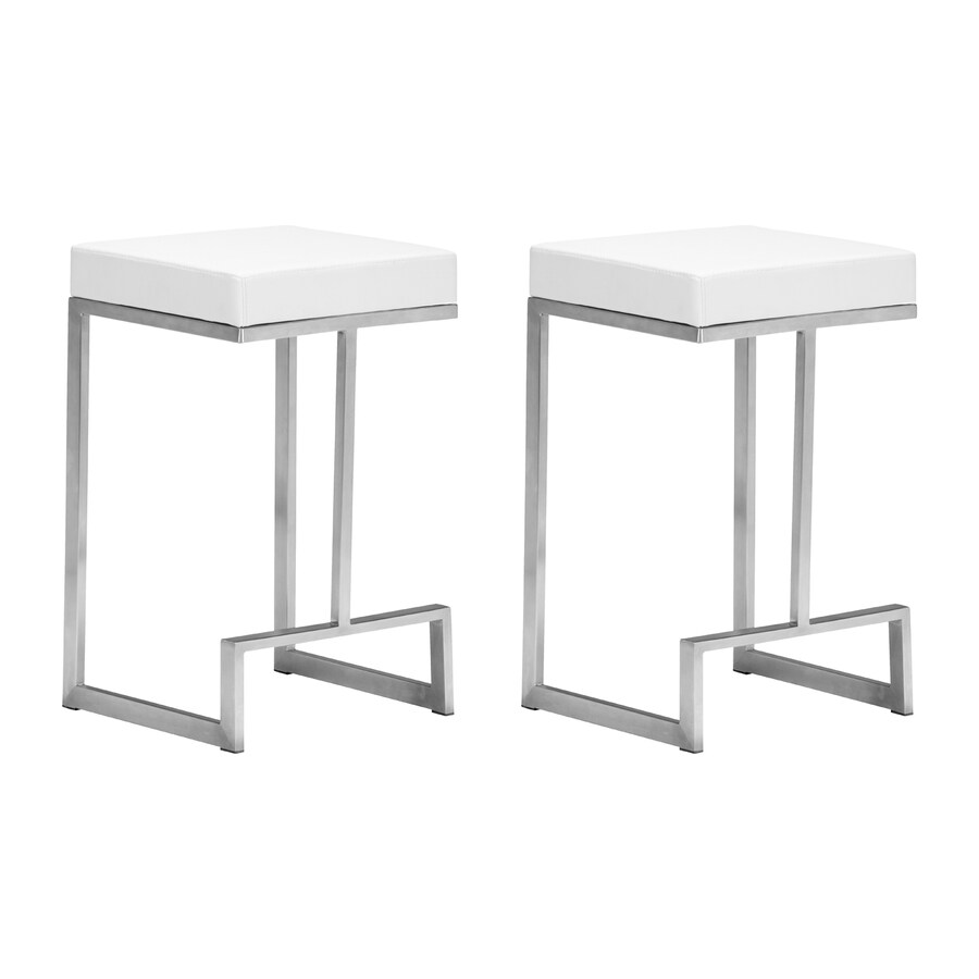 Kitchen Stools Malta: Zuo Modern Set Of 2 Darwen White 26-in Counter Stool At