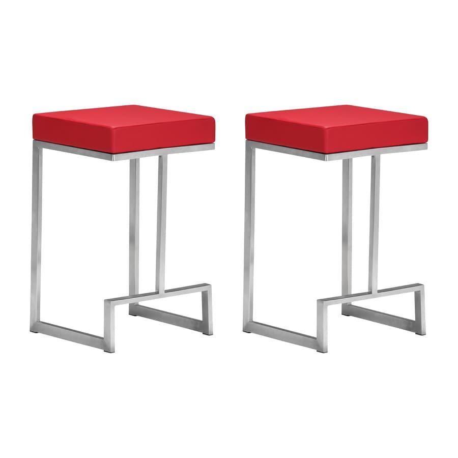 Zuo modern darwen set of 2 modern red counter stools
