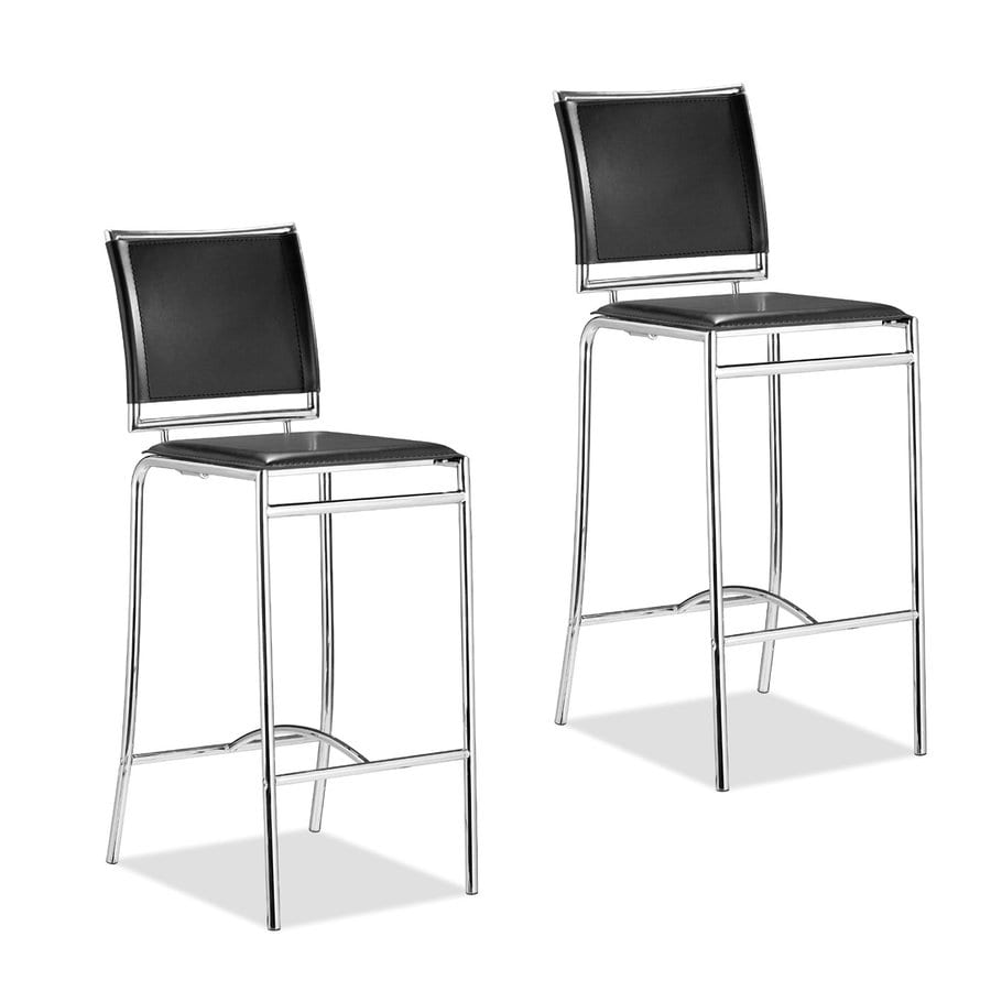 Zuo Modern Soar Set of 2 Modern Black Bar Stools