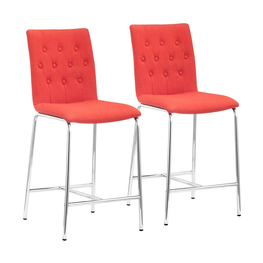 Zuo Modern Set of 2 Uppsala Tangerine 24-in Counter Stool