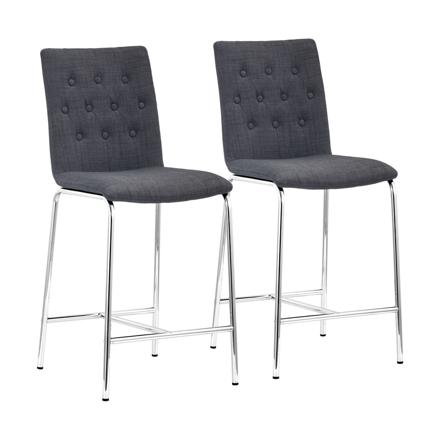Zuo Modern Set of 2 Uppsala Gray 24-in Counter Stool