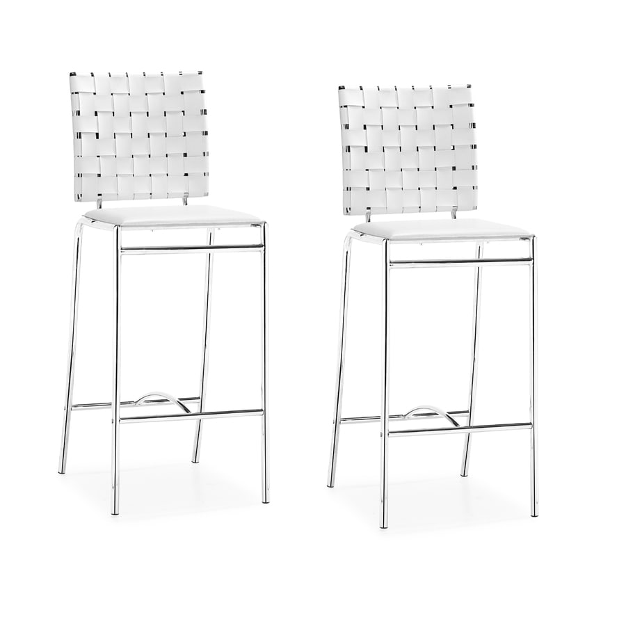 Zuo Modern Set of 2 Criss Cross White 26-in Counter Stool
