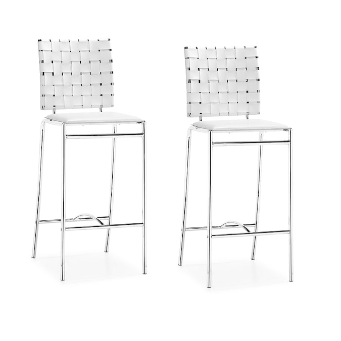 Zuo Modern Criss Cross Set Of 2 White Counter Stools At