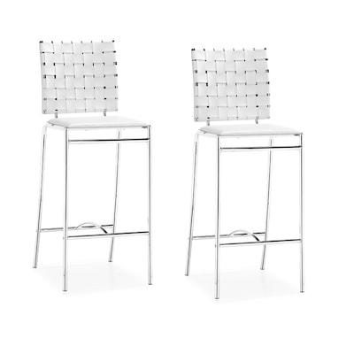 Tremendous Criss Cross Set Of 2 White Counter Stools Inzonedesignstudio Interior Chair Design Inzonedesignstudiocom