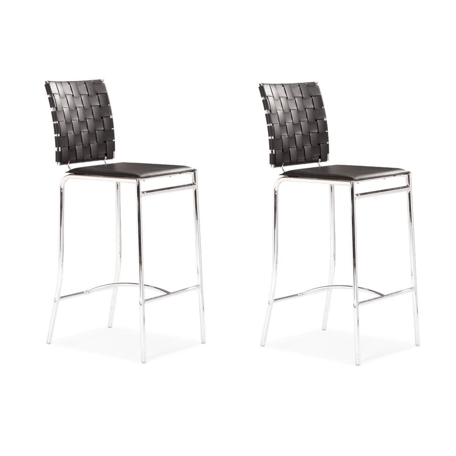 Zuo Modern Set of 2 Criss Cross Black 26-in Counter Stool