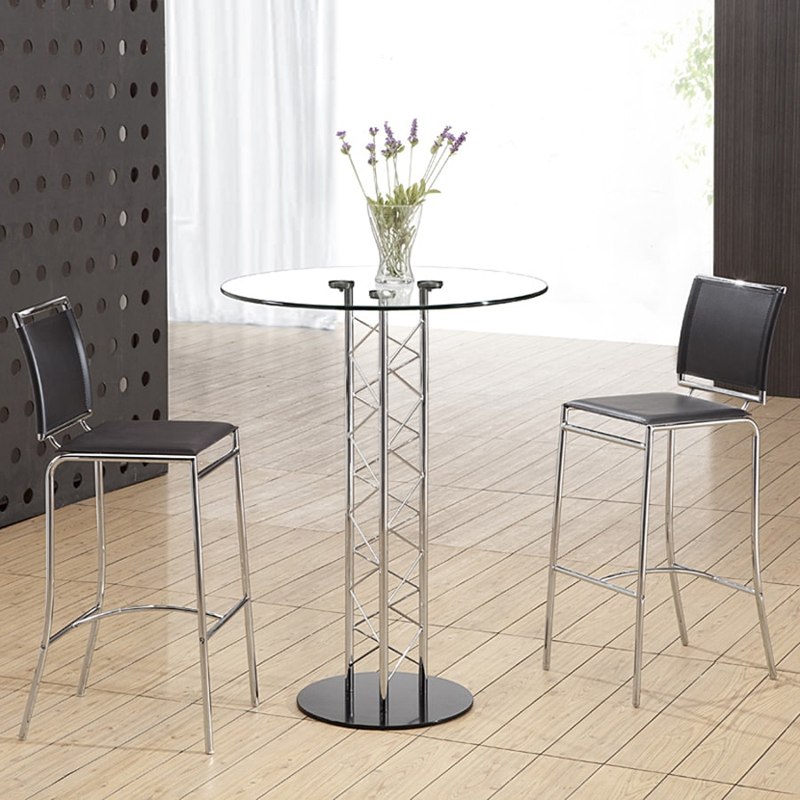 Zuo Modern Chardonnay Chrome/Black Round Dining Table