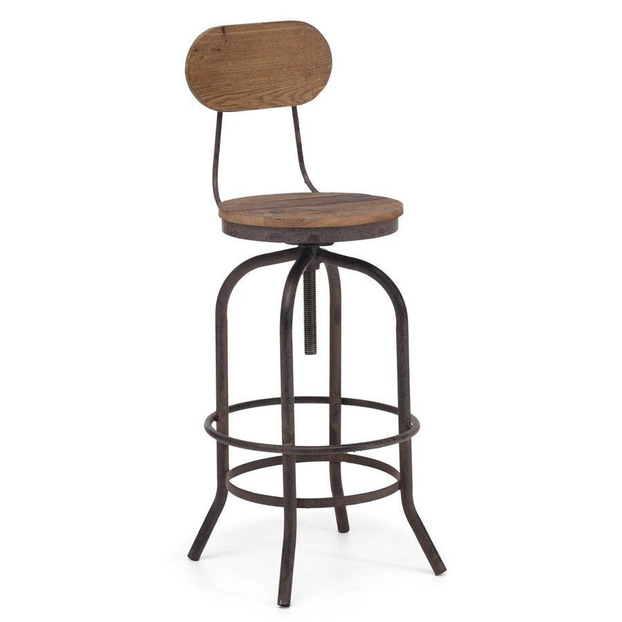 Zuo Modern Twin Peaks Distressed Natural 34.3-in Adjustable Stool