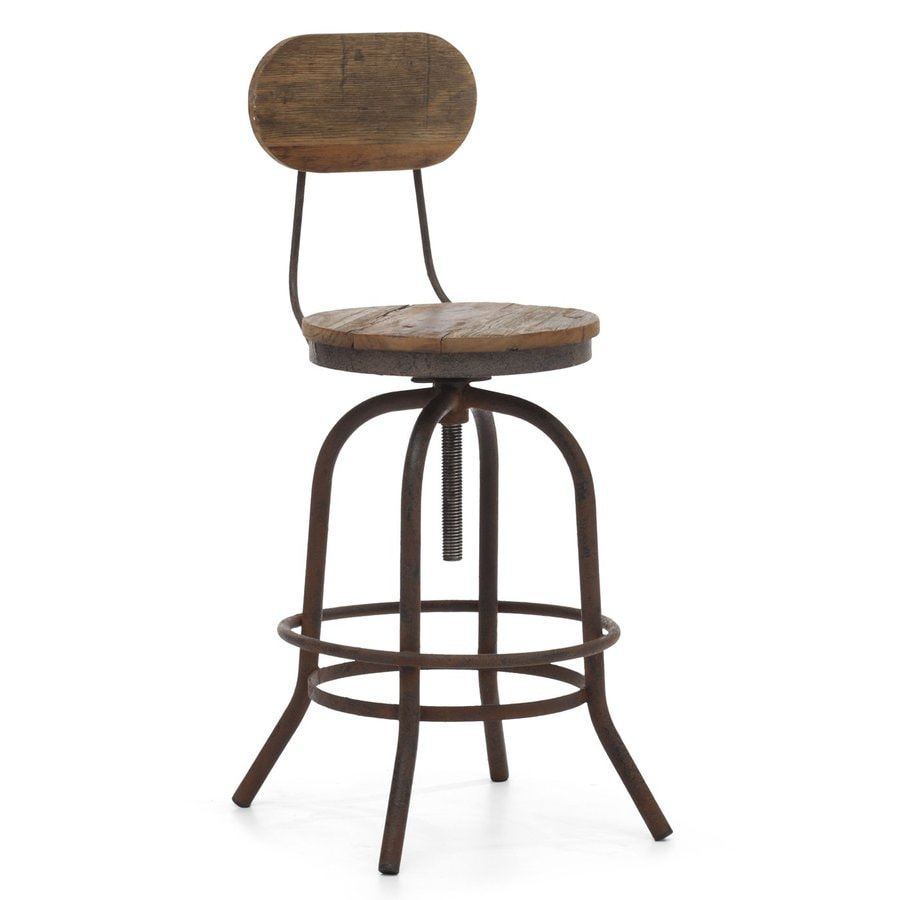 Zuo Modern Twin Peaks Distressed Natural 30.3-in Adjustable Stool
