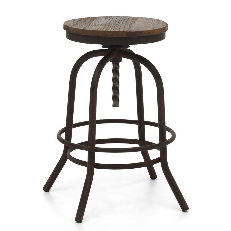 Zuo Modern Twin Peaks Distressed Natural 31-in Adjustable Stool