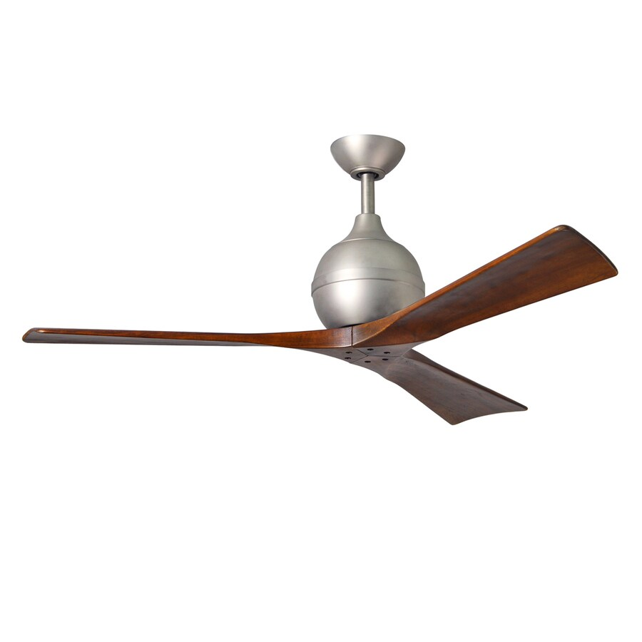 Matthews Irene 52-in Brushed nickel Indoor/Outdoor Downrod Mount Ceiling Fan and Remote (3-Blade)