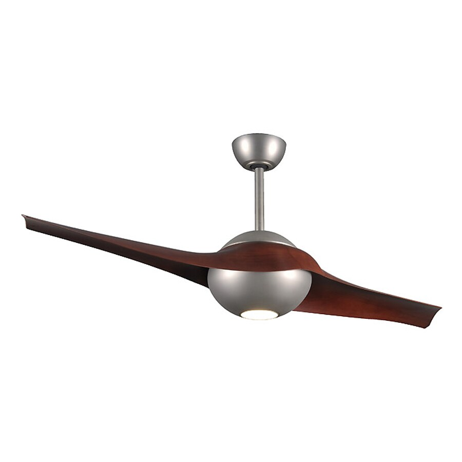 Matthews C-IV 60-in Brushed nickel Integrated Indoor/Outdoor Downrod Mount Ceiling Fan with Light Kit and Remote (2-Blade)