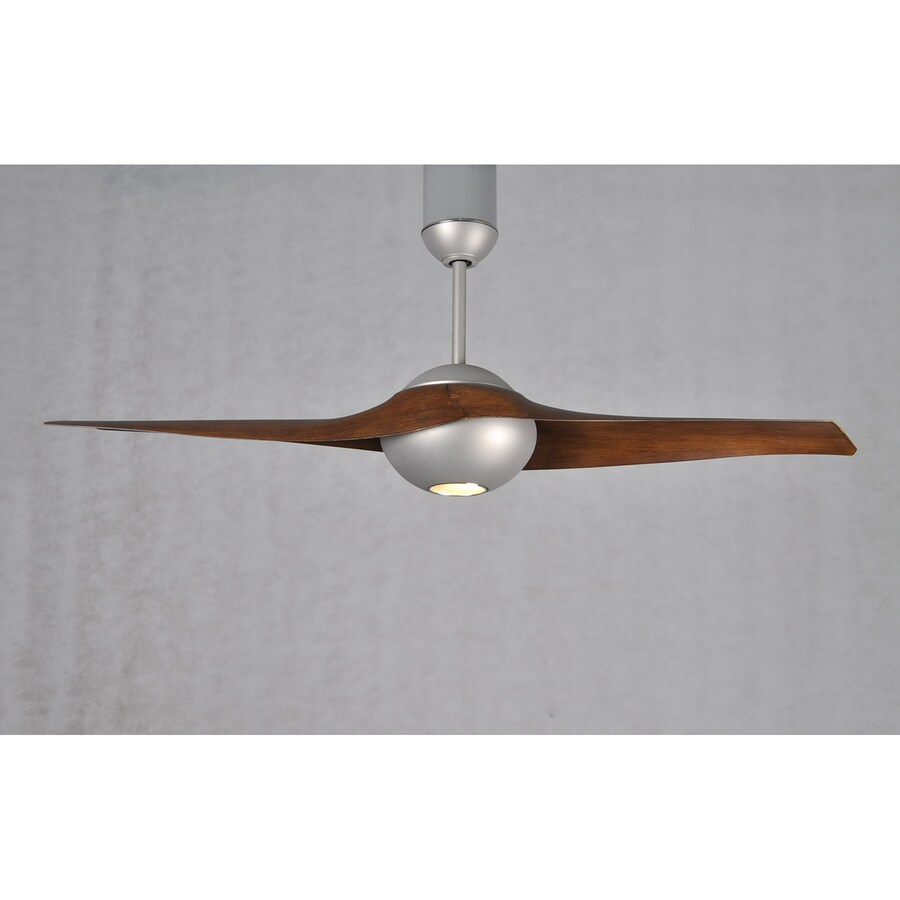 Matthews C-IV 60-in Brushed Nickel Downrod Mount Indoor/Outdoor Ceiling Fan with LED Light Kit and Remote (2-Blade)